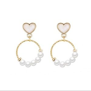 Jewelry - 3/$30 Heart Shaped Simulated Pearl Earrings
